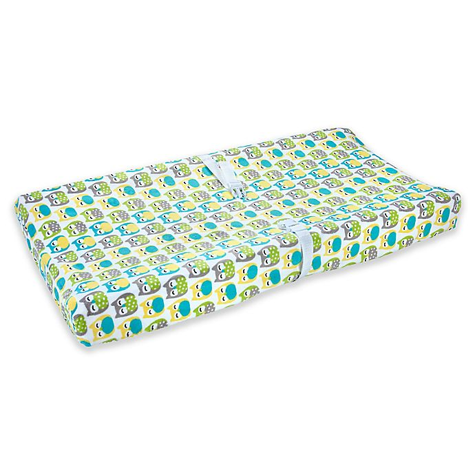 Alternate image 1 for carter's® Owl Velboa Changing Pad Cover in Green/Grey