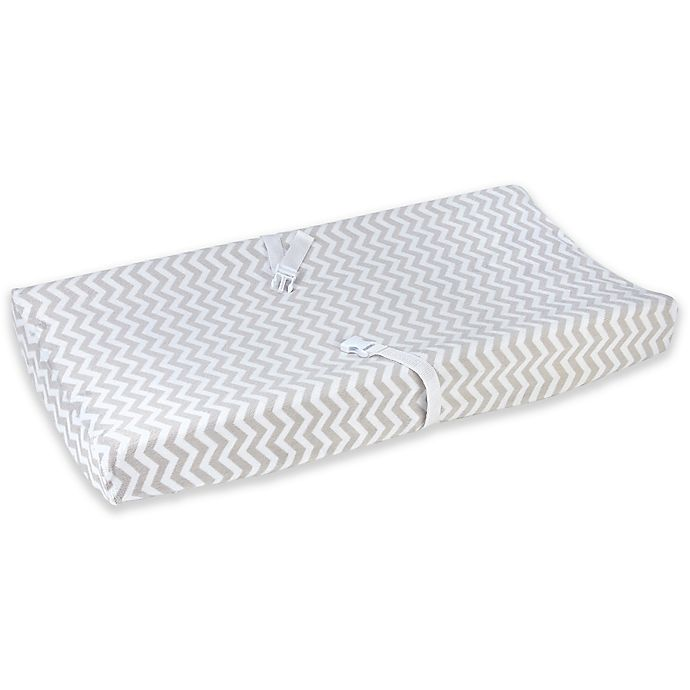 Alternate image 1 for carter's® Chevron Velboa Changing Pad Cover in Grey/White