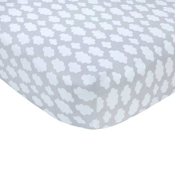 Alternate image 1 for carter's® Clouds Sateen Fitted Crib Sheet in Grey