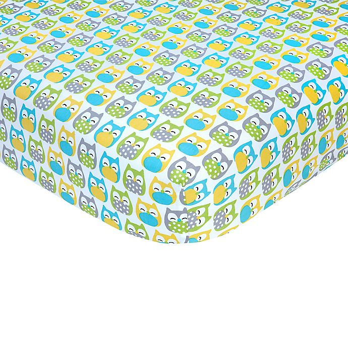 Alternate image 1 for carter's® Owl Sateen Fitted Crib Sheet in Blue/Yellow