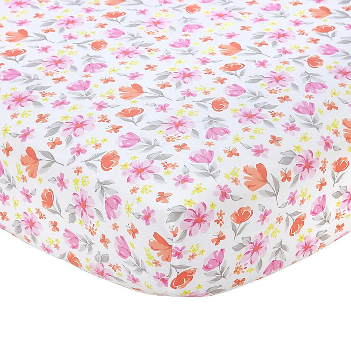 Alternate image 1 for carter's® Floral Sateen Fitted Crib Sheet in Pink