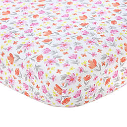 carter's® Floral Sateen Fitted Crib Sheet in Pink