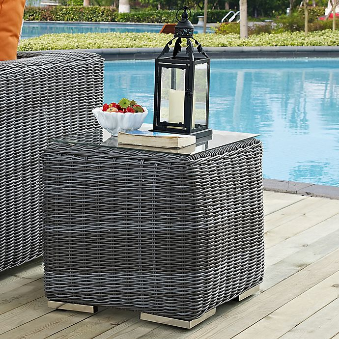 Alternate image 1 for Modway Summon Outdoor Wicker Side Table in Grey