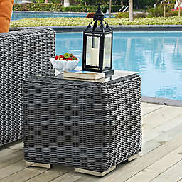 Modway Summon Outdoor Wicker Side Table in Grey