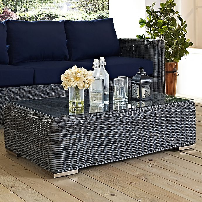 Alternate image 1 for Modway Summon Outdoor Wicker Glass Top Coffee Table in Grey