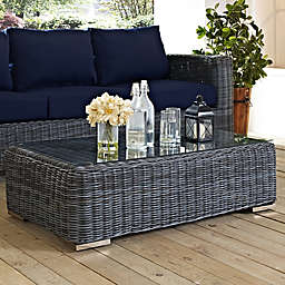 Modway Summon Outdoor Wicker Glass Top Coffee Table in Grey