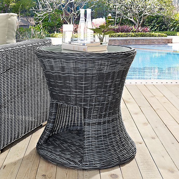 Alternate image 1 for Modway Summon Outdoor Wicker Round Side Table with Glass Top in Grey