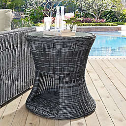Modway Summon Outdoor Wicker Round Side Table with Glass Top in Grey