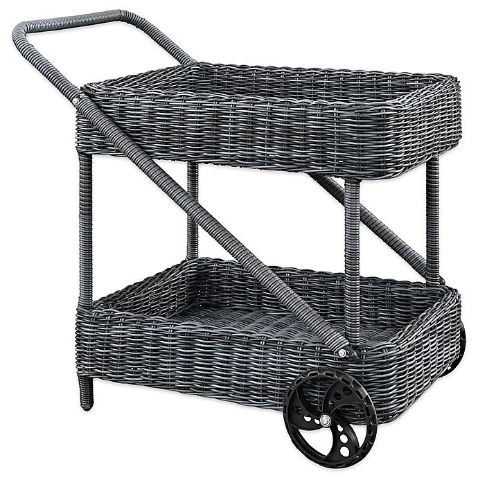 Alternate image 1 for Modway Summon Outdoor Wicker Beverage Cart in Grey