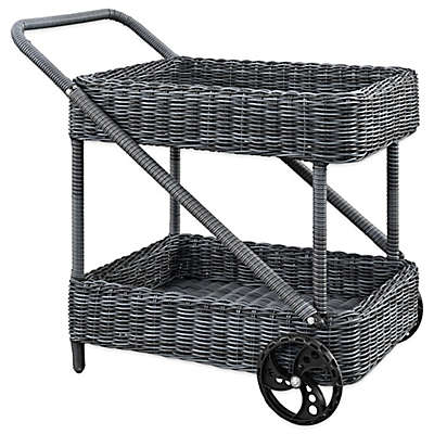 Modway Summon Outdoor Wicker Beverage Cart in Grey