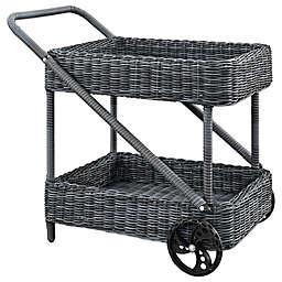 Modway Summon Outdoor Wicker Beverage Cart in Grey