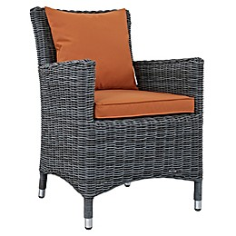 Modway Summon Outdoor Wicker Dining Armchair in Sunbrella® Canvas