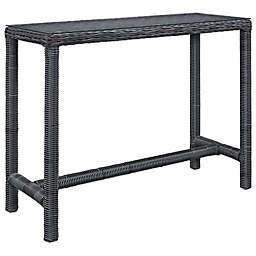 Modway Summon Outdoor Wicker Bar Table in Grey