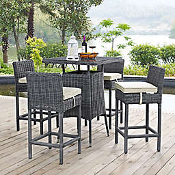 Modway Summon 5-Piece Outdoor Pub Set in Sunbrella® Canvas