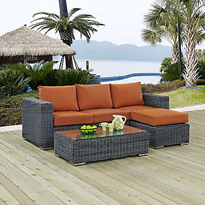 Modway Summon 3-Piece Outdoor Wicker Sectional Set in Sunbrella® Canvas