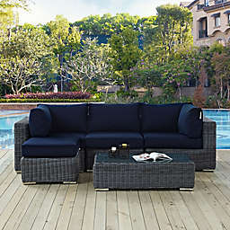 Modway Summon 5-Piece Outdoor Wicker Conversation Set in Sunbrella® Canvas
