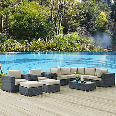Modway Summon 10-Piece Outdoor Wicker Sectional Set in Sunbrella® Canvas