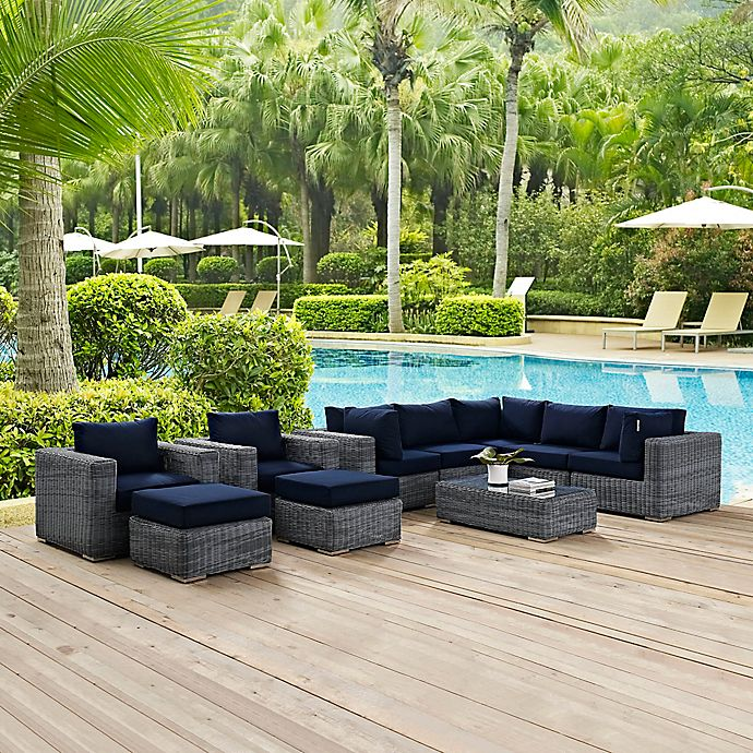 Alternate image 1 for Modway Summon 10-Piece Outdoor Wicker Sectional Set in Navy Sunbrella® Canvas