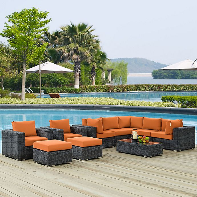 Alternate image 1 for Modway Summon 10-Piece Outdoor Wicker Sectional Set in Tuscan Sunbrella® Canvas