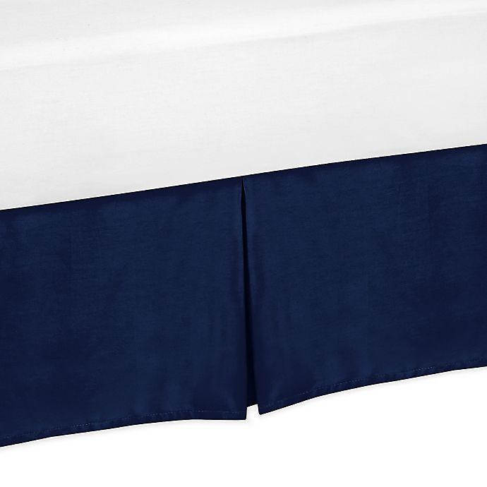 Alternate image 1 for Sweet Jojo Designs Navy and Grey Stripe Bed Skirt in Navy
