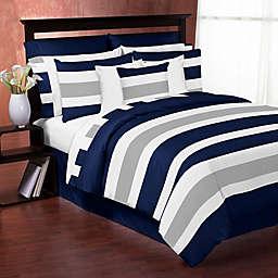 Sweet Jojo Designs Navy and Grey Stripe Comforter Set