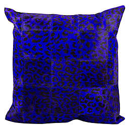 Mina Victory Leather Leopard Print 20-Inch Square Throw Pillow