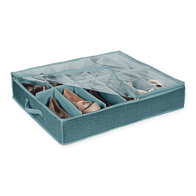 Alternate image 1 for Simplify 12-Pair Under-the-Bed Shoe Box in Blue