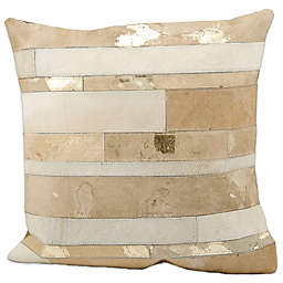 Mina Victory Natural Leather Hide Mixed Stripes 20-Inch Square Throw Pillow