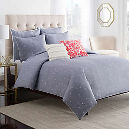 Chambray Dot Duvet Cover in Blue