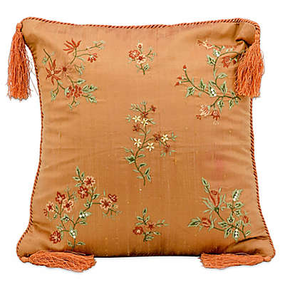 Mina Victory Silk Flowers 16-Inch Square Throw Pillow in Paprika