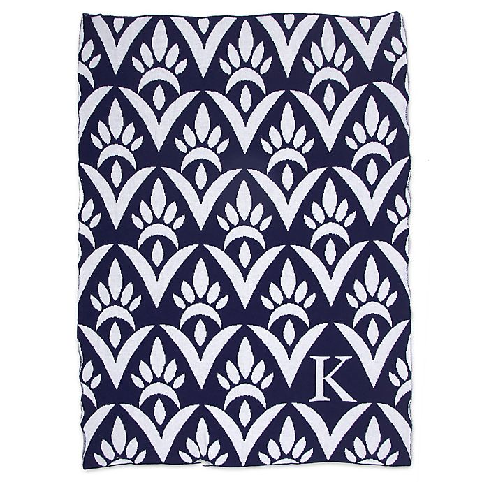 Alternate image 1 for Sleeping Partners Damask Knit Throw Blanket in Navy