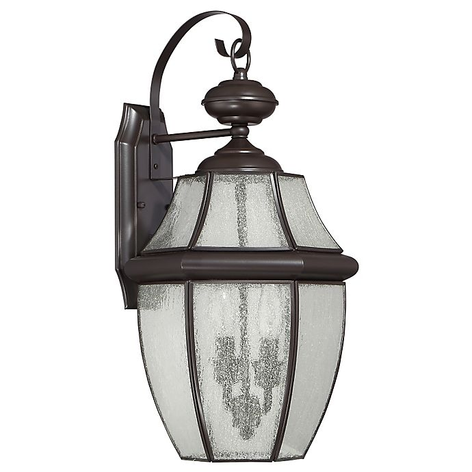 Alternate image 1 for Quoizel Newbury 2-Light Large Wall Lantern in Medici Bronze with Seedy Glass Shade