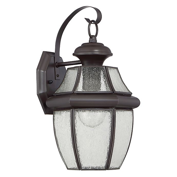 Alternate image 1 for Quoizel Newbury Large Wall Lantern in Medici Bronze with Seedy Glass Shade