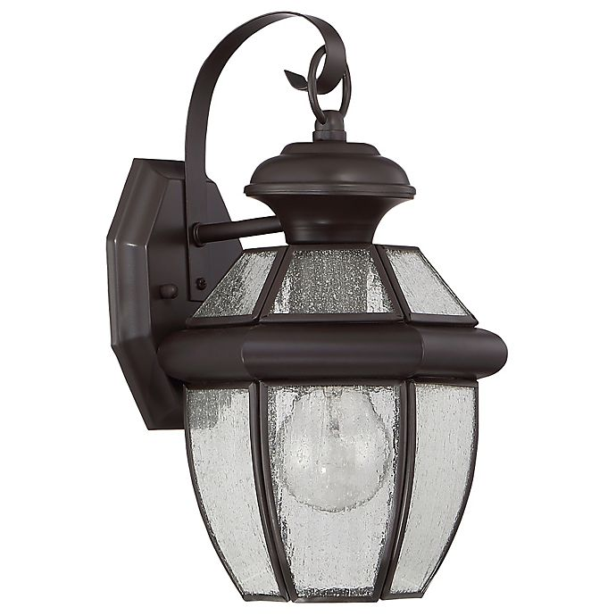 Alternate image 1 for Quoizel Newbury Medium Wall Lantern in Medici Bronze with Seedy Glass Shade