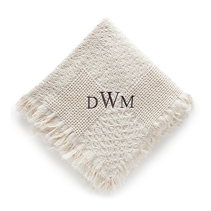 Alternate image 1 for Woven Natural Cotton Throw with Monogram