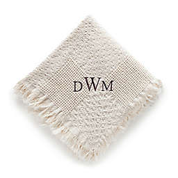 Woven Natural Cotton Throw with Monogram