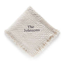 Woven Natural Cotton Throw with Block Font