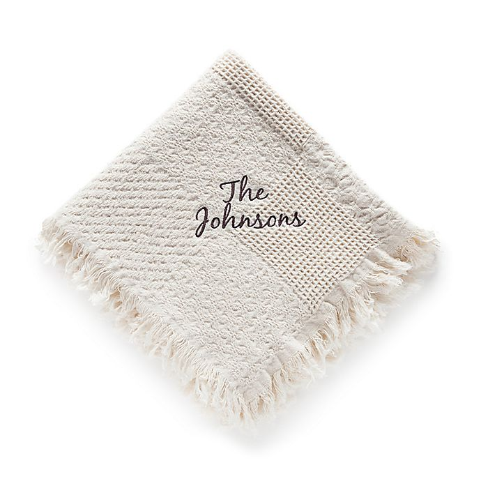 Alternate image 1 for Woven Natural Cotton Throw with Script Font
