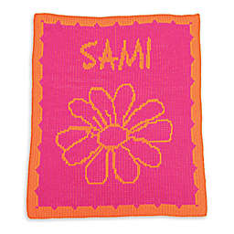 Butterscotch Blankees Flower and Scalloped Edge Luxury Knit Blanket in Fuchsia/Orange