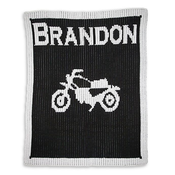Alternate image 1 for Butterscotch Blankees  Vintage Motorcycle Luxury Knit Blanket in Black/White