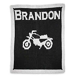 Butterscotch Blankees  Vintage Motorcycle Luxury Knit Blanket in Black/White