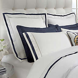 DownTown Company Chelsea Boudoir Pillow Sham in White/Navy