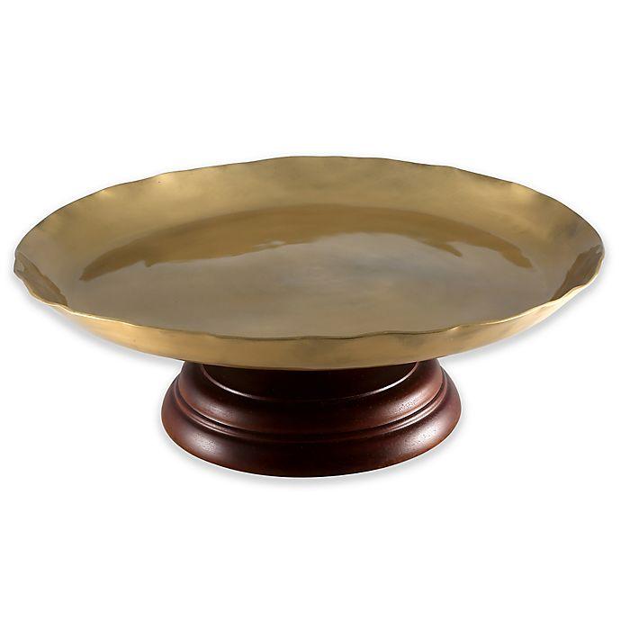 Alternate image 1 for Thirstystone® Dark Mango Wood Cake Stand in Gold