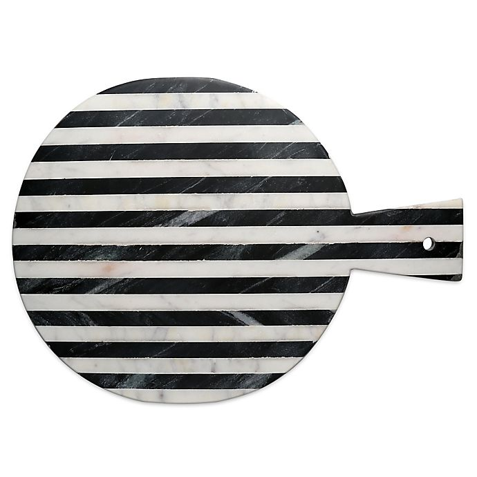 Alternate image 1 for Thirstystone® Striped Marble Round Cheeseboard in Black/White
