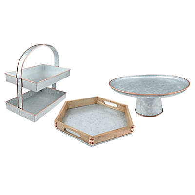Thirstystone® Mango Wood and Galvanized Metal Serving Collection