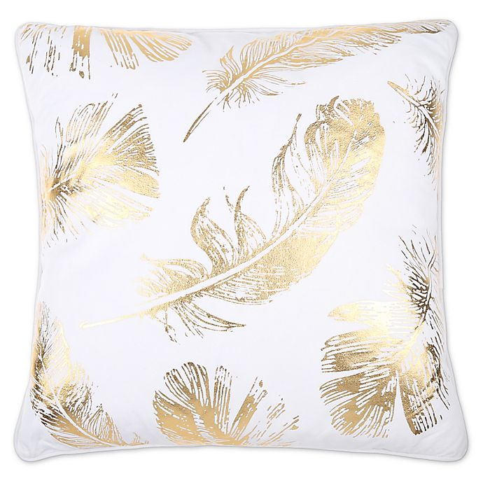 Alternate image 1 for Flynn Foil Print Feather Fill Square Throw Pillow in White/Gold