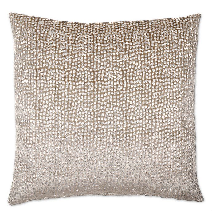 Alternate image 1 for Opal Oyshee Foil Metallic Embroidered Feather Fill Velvet Pillow in Taupe