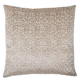 Opal Oyshee Foil Metallic Embroidered Feather Fill Velvet Pillow in Taupe