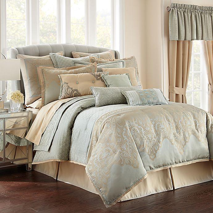 Alternate image 1 for Waterford® Linens Aramis Queen Comforter Set in Aqua/Gold