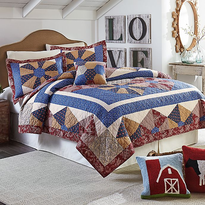 Alternate image 1 for Mary Jane's Home Busy Bee King Quilt in Blue/Red